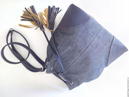 """Женские сумки ручной работы. Ярмарка Мастеров - ручная работа. Купить Сумка-торба """"Матильда"""". Handmade. Тёмно-синий, ткань"""