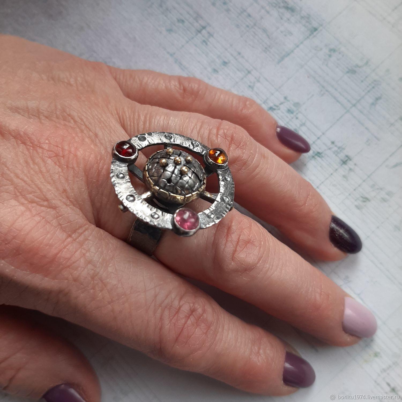 """Серебряное кольцо """"У каждого своя планета"""" турмалины, Кольца, Москва,  Фото №1"""