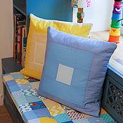 """Текстиль ручной работы. Ярмарка Мастеров - ручная работа Сидушка """"Голубое с жёлтым"""" и подушки. Handmade."""