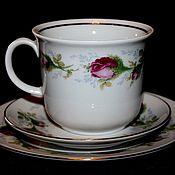 Винтаж handmade. Livemaster - original item Beautiful tea troika with rosebuds, Ilmenau, Germany. Handmade.