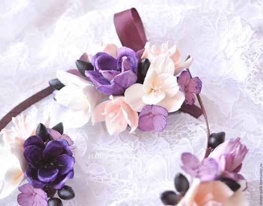 """Свадебные украшения ручной работы. Ярмарка Мастеров - ручная работа. Купить Браслет с цветами """"Purple"""". Handmade. Фиолетовый, браслет на руку"""