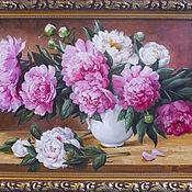 """Картины и панно ручной работы. Ярмарка Мастеров - ручная работа """"Пионы в белой вазе"""". Handmade."""