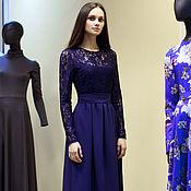 Одежда ручной работы. Ярмарка Мастеров - ручная работа Кружевное длинное вечернее платье в пол. Темно синее платье. Handmade.