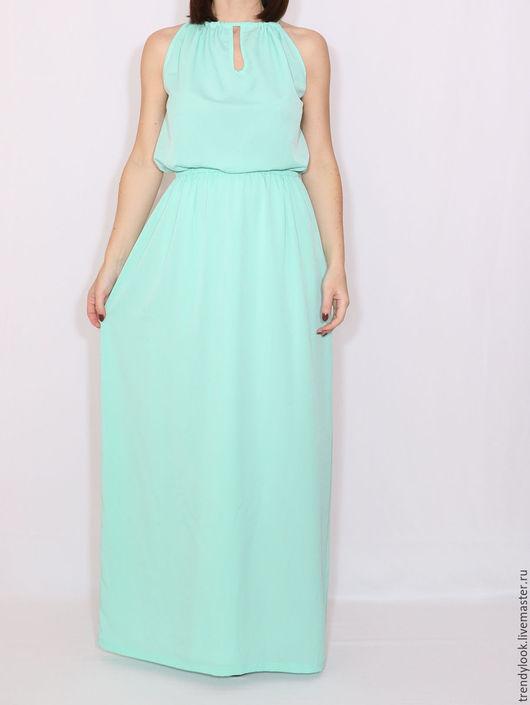 Платья ручной работы. Ярмарка Мастеров - ручная работа. Купить Мятное платье из шифона, длинное летнее платье. Handmade. платье