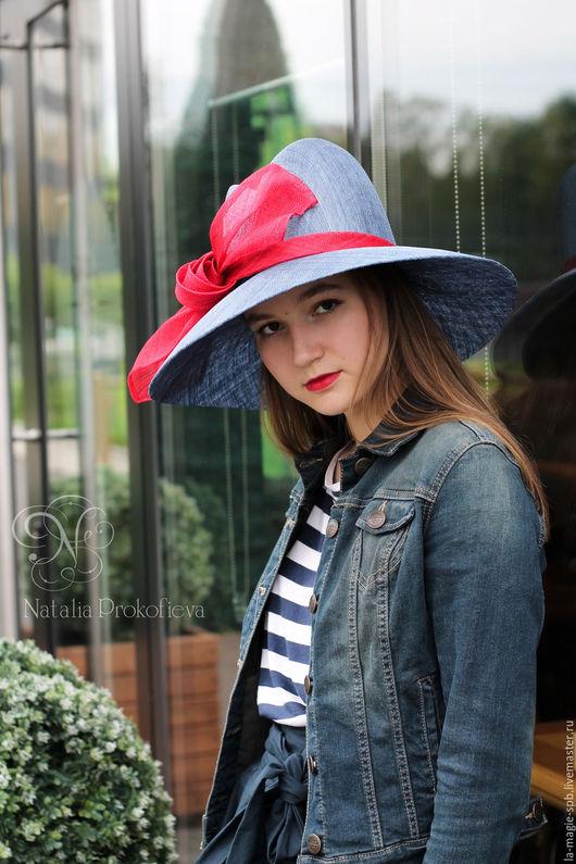 """Шляпы ручной работы. Ярмарка Мастеров - ручная работа. Купить Летняя шляпа """"Denim"""". Handmade. Синий, море, соломенная шляпа"""