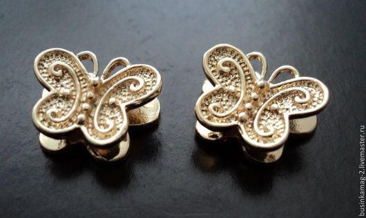 Для украшений ручной работы. Ярмарка Мастеров - ручная работа. Купить Бусина бабочка пр-во Ю.Корея 9мм, позолота. Handmade.