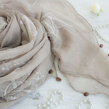 Accessories handmade. Livemaster - original item Exclusive silk embroidered scarf from Gucci fabric dark beige. Handmade.