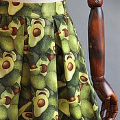 Одежда ручной работы. Ярмарка Мастеров - ручная работа юбка с авокадо. Handmade.