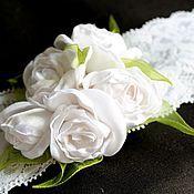 """Работы для детей, ручной работы. Ярмарка Мастеров - ручная работа Повязка для волос """"Белые розы"""". Handmade."""