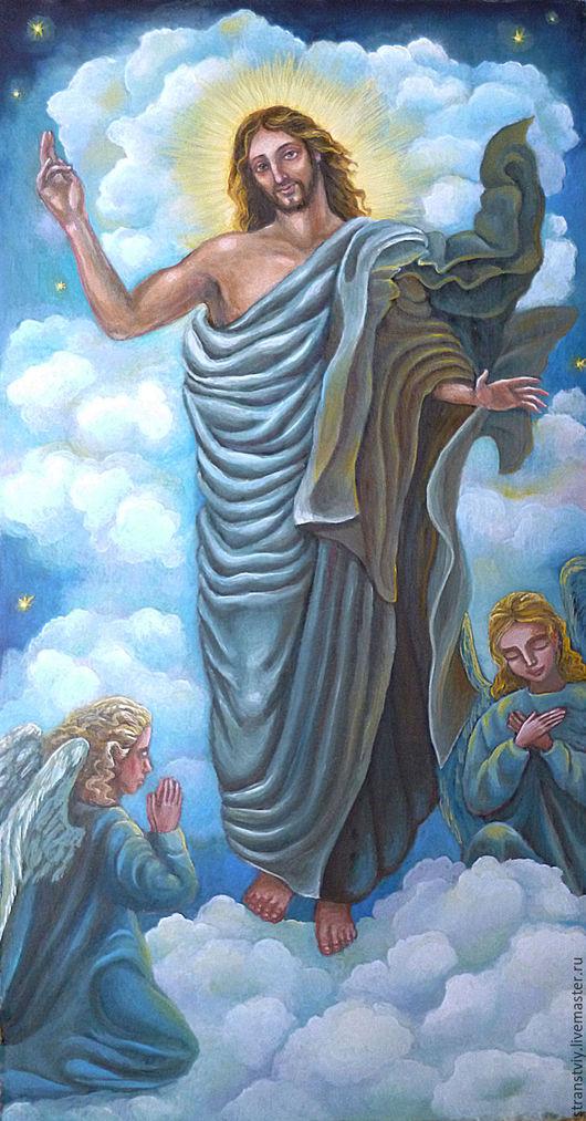 Подарки на Пасху ручной работы. Ярмарка Мастеров - ручная работа. Купить Воскресение Христово. Handmade. Голубой, масляные краски