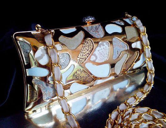 """Женские сумки ручной работы. Ярмарка Мастеров - ручная работа. Купить Мини-клатч вечерний кожаный """"White giraffe + gold"""". Handmade."""
