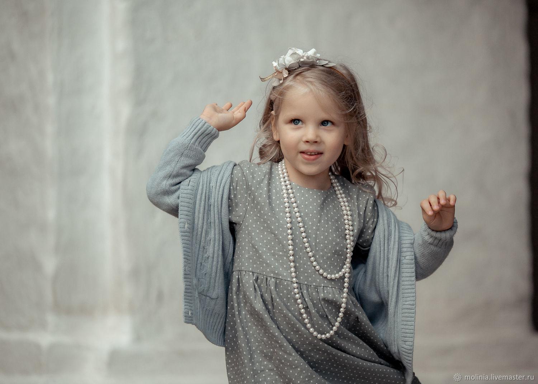 Платье для девочки льняное детское серое нарядное для утренника, Одежда, Калининград, Фото №1