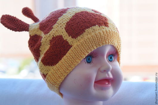 """Шапки и шарфы ручной работы. Ярмарка Мастеров - ручная работа. Купить Шапочка """"Жирафик"""". Handmade. Желтый, шапка для девочки"""