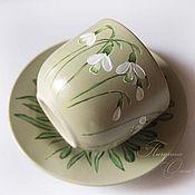 """Посуда ручной работы. Ярмарка Мастеров - ручная работа Чайная пара """"Подснежники"""". Handmade."""