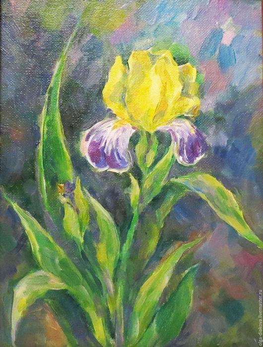 Картины цветов ручной работы. Ярмарка Мастеров - ручная работа. Купить Ирис. Handmade. Ирис, цветок, лето, зеленый, желтый