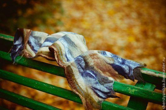 Теплый, широкий шарф-палантин `Свободные ветры` в который так приятно укутаться в хмурую непогоду.