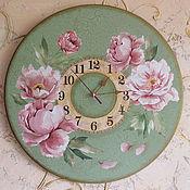 Для дома и интерьера ручной работы. Ярмарка Мастеров - ручная работа часы настенные Пионы. Handmade.