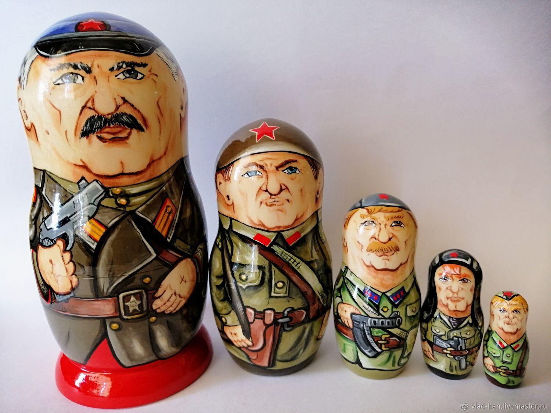 Матрёшка Солдаты ВОВ, Народная кукла, Сергиев Посад,  Фото №1