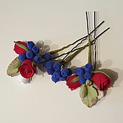 Свадебный салон ручной работы. Ярмарка Мастеров - ручная работа Шпильки для волос с розочками бордовыми из полимерной глины. Handmade.