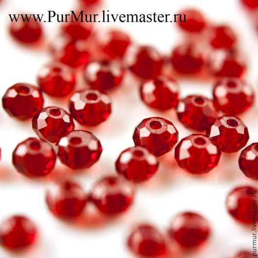 Для украшений ручной работы. Ярмарка Мастеров - ручная работа. Купить 1070_ Бусины стекло 6 мм рондель граненые Красные прозрачные кристаллы. Handmade.