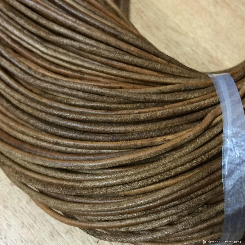 Шнур кожаный, светло-коричневый , 2 мм, Шнуры, Обнинск,  Фото №1