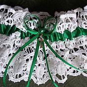 """Подвязки ручной работы. Ярмарка Мастеров - ручная работа Подвязка невесты """"Изумруд"""", свадебные аксессуары. Handmade."""