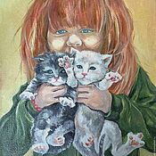 Картины и панно handmade. Livemaster - original item Picture of Girl with kittens: yellow,grass green, red, ivory. Handmade.