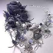Украшения handmade. Livemaster - original item Silver evening. Kit. Necklace, two brooches and earrings.. Handmade.