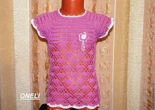 Одежда для девочек, ручной работы. Ярмарка Мастеров - ручная работа. Купить Ажурная туника для девочки. Handmade. Розовый, туника летняя