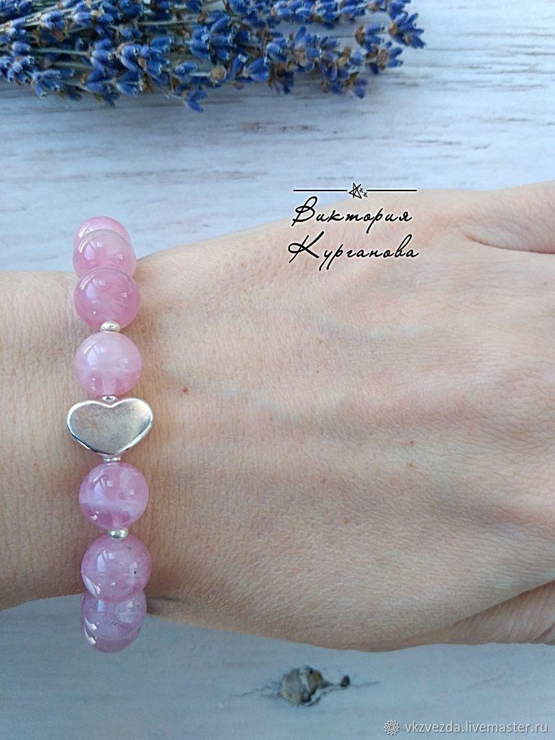 Браслет из мадагаскарского розового кварца с серебром