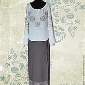 Одежда ручной работы. Ярмарка Мастеров - ручная работа костюм с ручной вышивкой Осенний Блюз. Handmade.