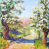 """Картины и панно ручной работы. Ярмарка Мастеров - ручная работа Картина """"Вишня цветет"""". Handmade."""