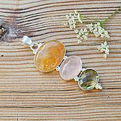 Украшения ручной работы. Ярмарка Мастеров - ручная работа Кулон подвеска с лимонным, розовым кварцем. Handmade.