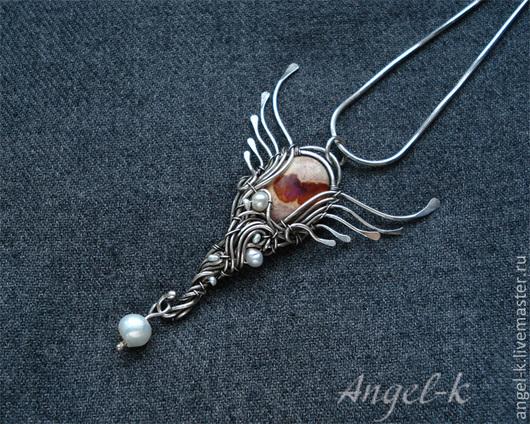 """Кулоны, подвески ручной работы. Ярмарка Мастеров - ручная работа. Купить серебряный кулон """"Сердце ангела"""" с болдер-опалом. Handmade."""
