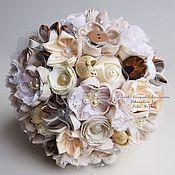Свадебный салон handmade. Livemaster - original item Brooch-bouquet of fabric in rustic style. Handmade.