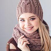 Комплекты аксессуаров ручной работы. Ярмарка Мастеров - ручная работа Комплекты: Комплект вязаный женский шарф снуд и шапка Капучино. Handmade.