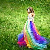 """Одежда ручной работы. Ярмарка Мастеров - ручная работа Платье """"Радуга"""", платье можно регулировать по объёму за счёт шнуровки. Handmade."""