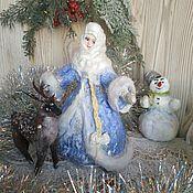Сувениры и подарки handmade. Livemaster - original item Snow maiden with a deer: Cotton toy. Handmade.