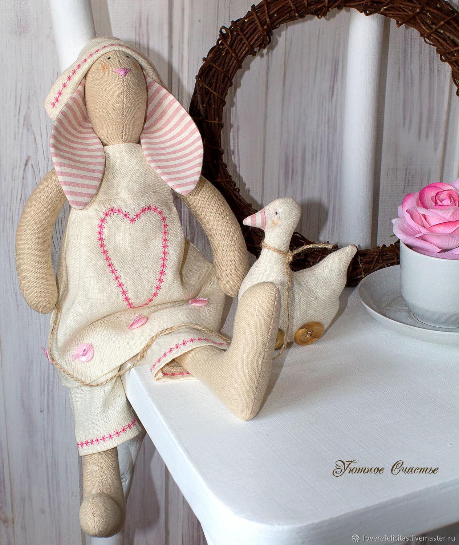 Куклы Тильды ручной работы. Ярмарка Мастеров - ручная работа. Купить Зайка - тильда с уточкой. Handmade. Бежевый, зайка
