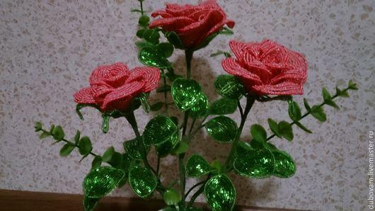 Интерьерные композиции ручной работы. Ярмарка Мастеров - ручная работа. Купить Роза кустовая. Handmade. Коралловый, роза ручной работы