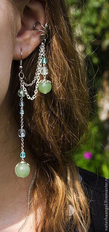 """Каффы ручной работы. Ярмарка Мастеров - ручная работа. Купить Голубые серьги кафф """"Мятная Вода"""" (голубой, зеленый и мятный цвет). Handmade."""
