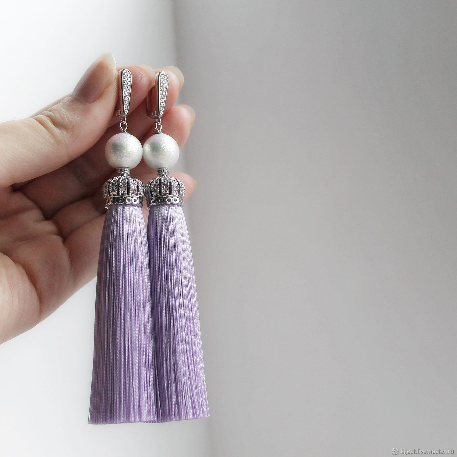 Earring of the brush 'Purple dawn', Tassel earrings, Oktyabrsky,  Фото №1
