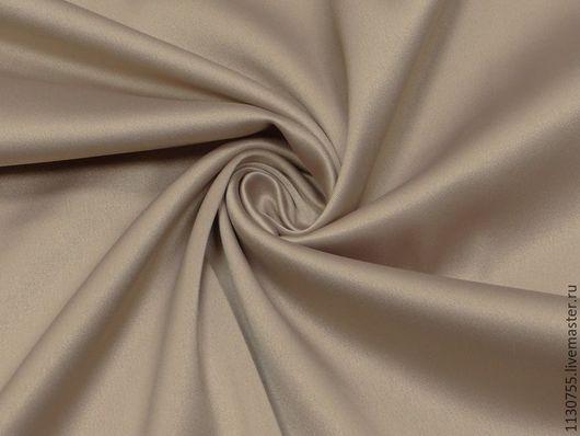 Шитье ручной работы. Ярмарка Мастеров - ручная работа. Купить ткань сатин костюмный беж  со стрейчем. Handmade. Ткань