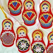 Русский стиль handmade. Livemaster - original item Suspension Russian Mattress with ribbon embroidered charm 4x8сm. Handmade.