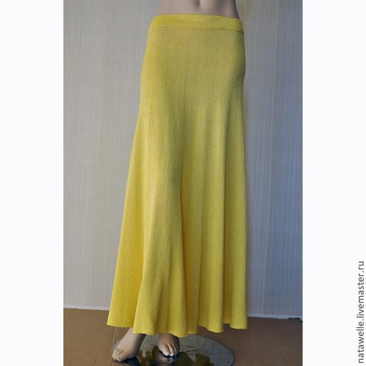 Юбки ручной работы. Ярмарка Мастеров - ручная работа. Купить вязаная лимонная юбка солнце из хлопка с вискозой длинная. Handmade.