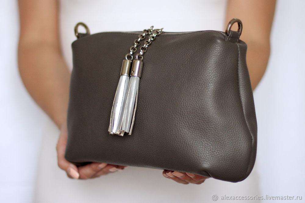 5066335f3532 Купить Кожаная темно-серая Женские сумки ручной работы. Кожаная темно-серая  сумка Ivy (золотистая фурнитура).
