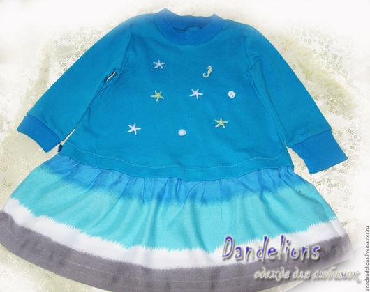 """Одежда для девочек, ручной работы. Ярмарка Мастеров - ручная работа. Купить Платье """"Морское"""". Handmade. Голубой, платье, интерлок"""