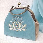 Сумки и аксессуары handmade. Livemaster - original item Turquoise velvet handbag with bead embroidery. Handmade.