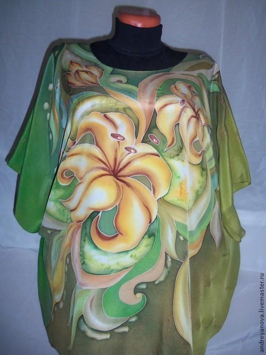 """Блузки ручной работы. Ярмарка Мастеров - ручная работа. Купить Блуза -серопе """"Жёлтые лилии"""". Handmade. Оливковый, блуза на шёлке"""