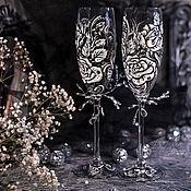 """Свадебный салон ручной работы. Ярмарка Мастеров - ручная работа Бокалы свадебные - """"белая роза"""". Handmade."""